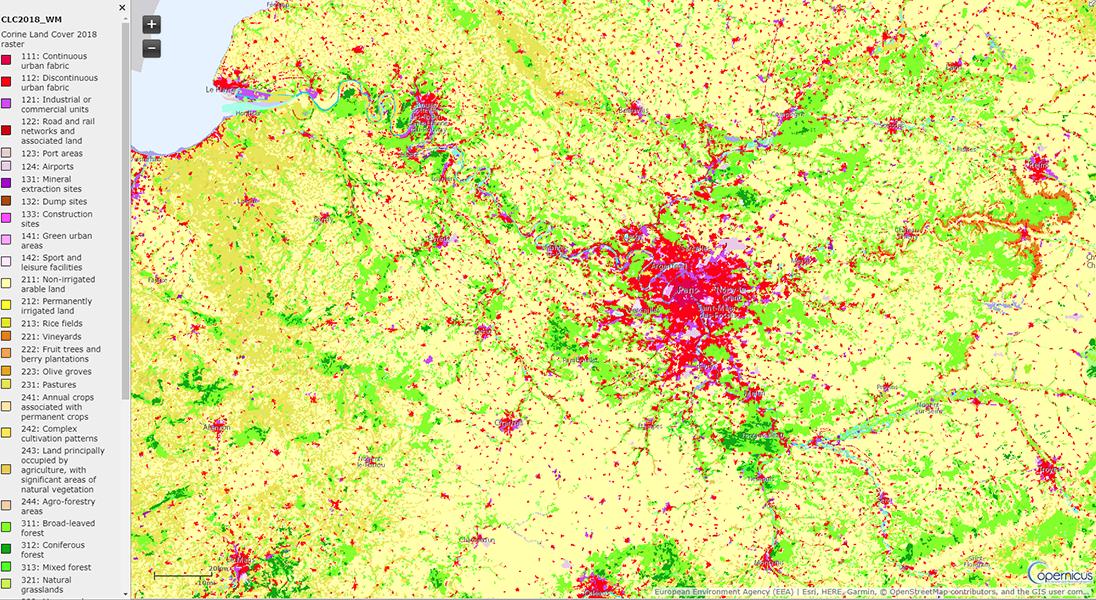Bassin parisien périurbanisation forêts agriculture usages du sol Copernicus