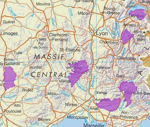 carte des géoparcs en france