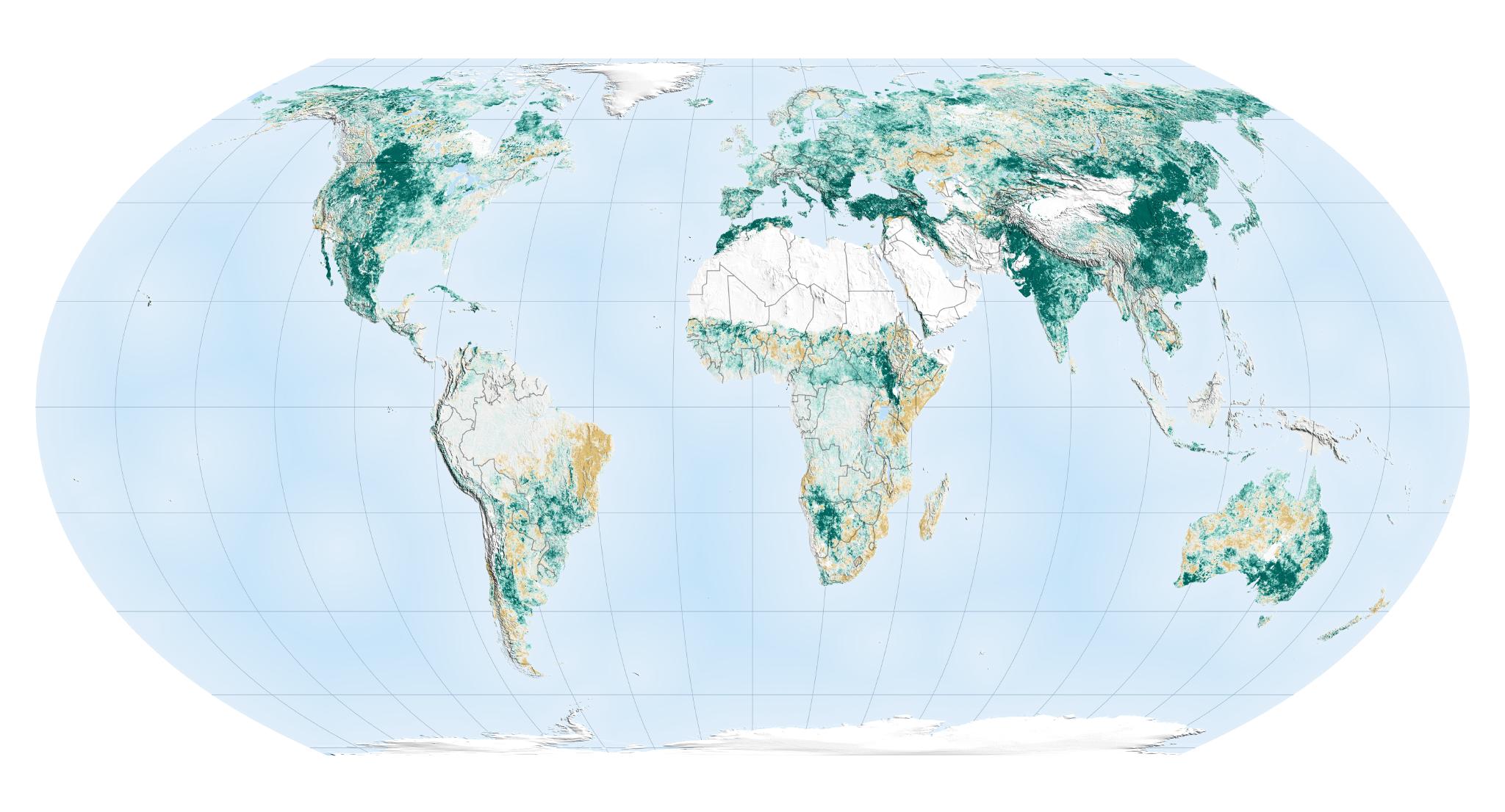 NASA verdissement carte échelle mondiale