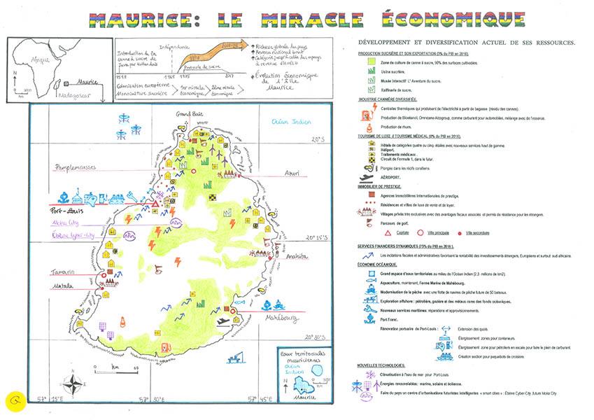 L'Île Maurice, le miracle économique, carte de synthèse