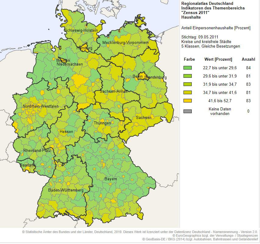 Taux de célibataires en Allemagne carte