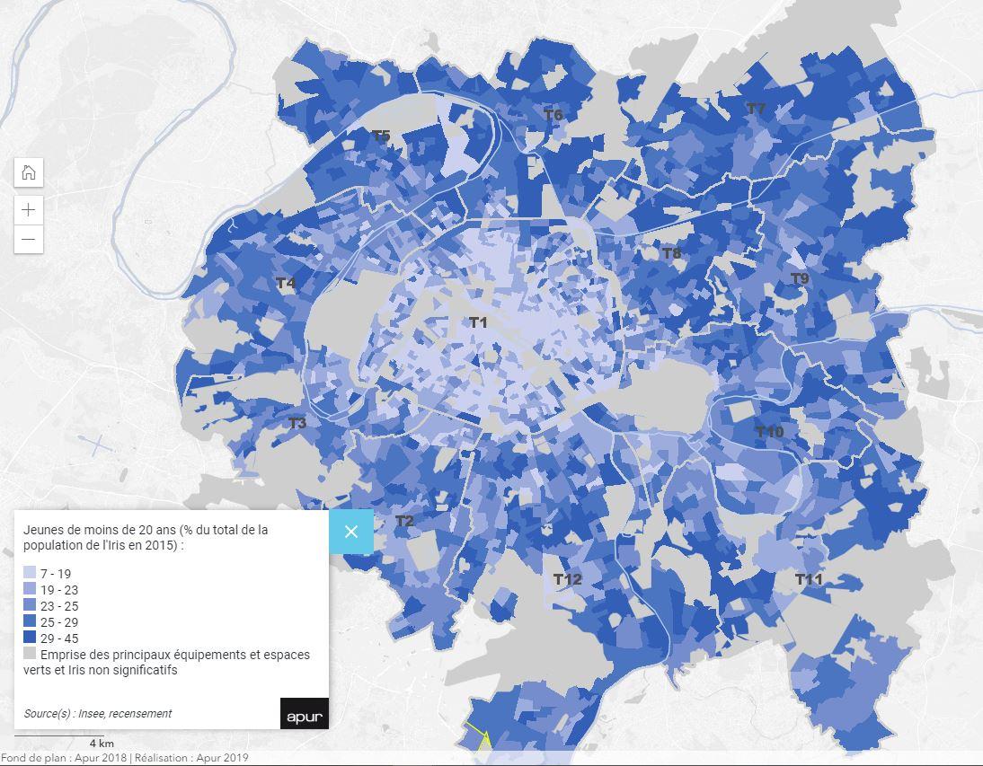 Ile de France / Grand Paris - part des moins de 20 ans par IRIS carte