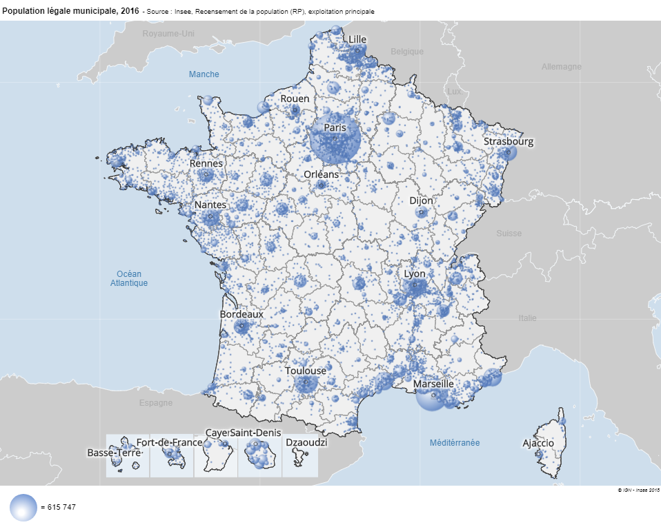Carte France population par commune 2016 Insee