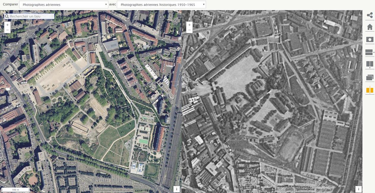 Parc Sergent Blandan carte état major et vue satellite actuelle