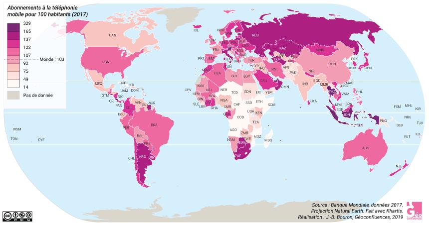 Carte du nombre d'abonnements à la téléphonie mobile pour 100 habitants, monde