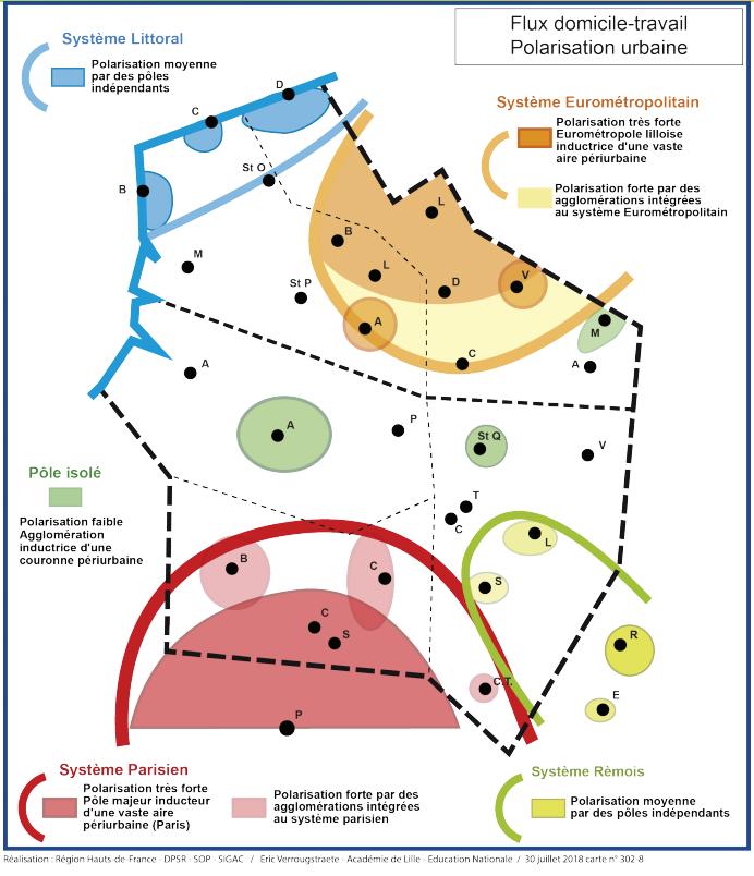 Atlas des Hauts-de-France polarisation urbaine