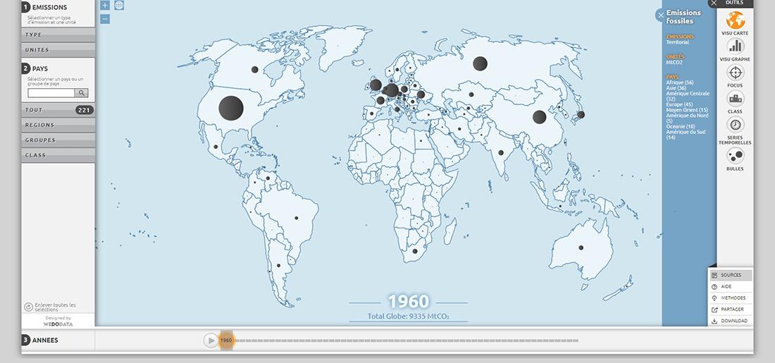 Carte émissions de CO2 par pays en 1960