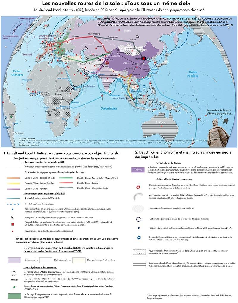 Routes de la soie chine carte de synthèse planisphère