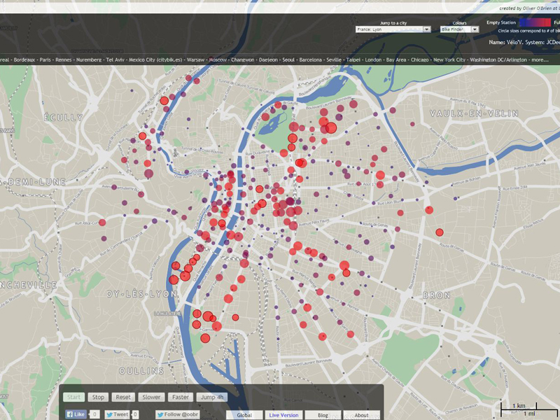 Carte à la une : la fréquentation des stations vélo'v à Lyon