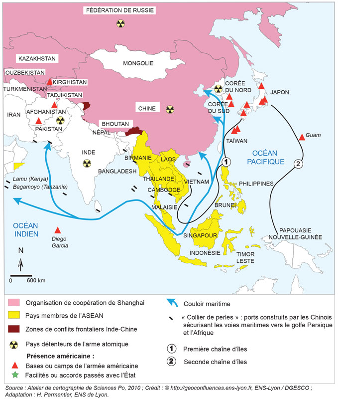 Carte Asie Pacifique.Les Relations Internationales De La Chine Apres La Crise De
