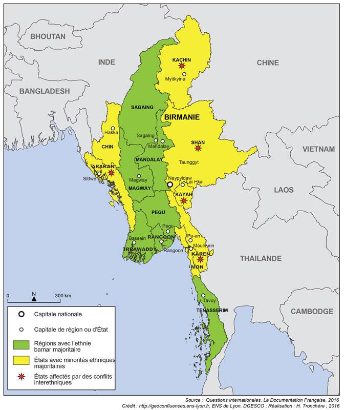 Birmanie Carte Regions.Religions Politique Et Espace S La Question Rohingya En